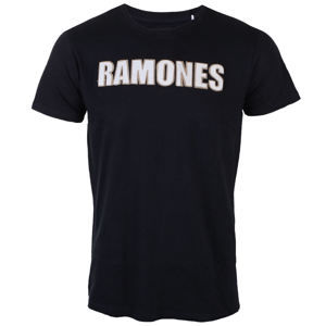ROCK OFF Ramones Logo & Seal Applique Slub Čierna