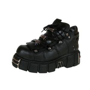 topánky kožené NEW ROCK String Shoes (106-S1) Black Čierna 37