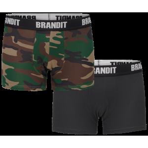 boxerky pánske (set 2 kusov) BRANDIT - 4501-woodland+black S