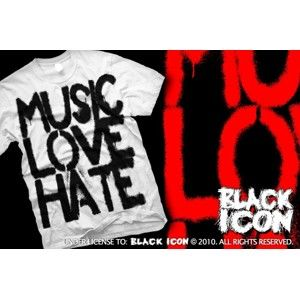 BLACK ICON Music, Love biela XL