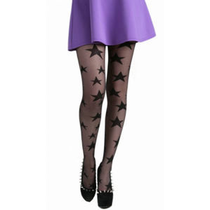 pančucháče PAMELA MANN - All Over Stars Sheer Tights - Black - 086