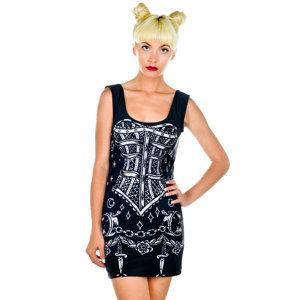 18925667a2de šaty dámske HELL BUNNY - Avalon Mini - Blk Wht - 4306 L