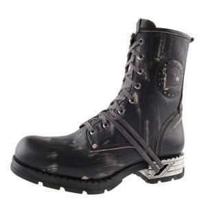 topánky kožené pánske - Motorosk Negro - NEW ROCK - M.MR001-C4