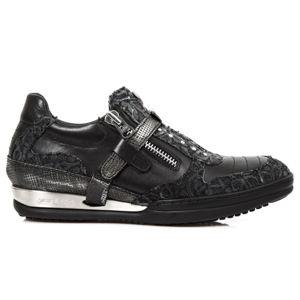 topánky kožené dámske - FLORAL DENIM NEGRO - NEW ROCK - M.HY031-S7