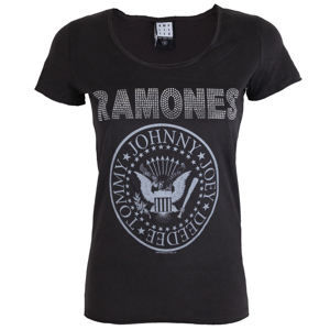 AMPLIFIED Ramones LOGO SILVER DIAMANTE Čierna