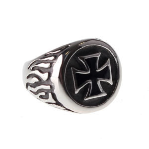 prsteň ETNOX - Black Iron Cross - SR1140 68