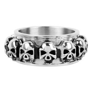 prsteň INOX - skulls around - FR1046