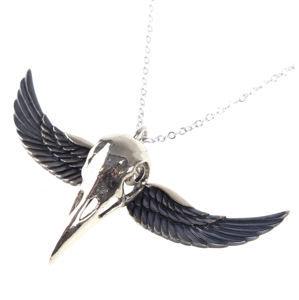 obojok ETNOX - Winged Crow Skull - Silver - BK8000S
