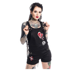 kraťasy dámske Heartless - ANTI LOVE BIB AND BRACE - BLACK - POI340